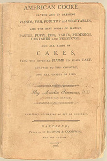 "The first cook book published in the United States is ""American Cookery"" printed in 1796. Only four original copies are known to exist."