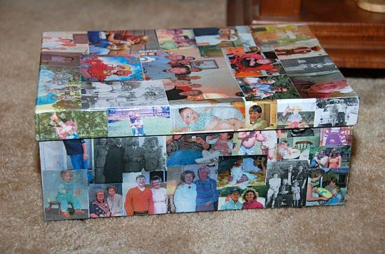 This keepsake is box made from photos, but using postcards works just as well. If you're a purist, think of this as a fun way to recycle damaged or bent postcards.