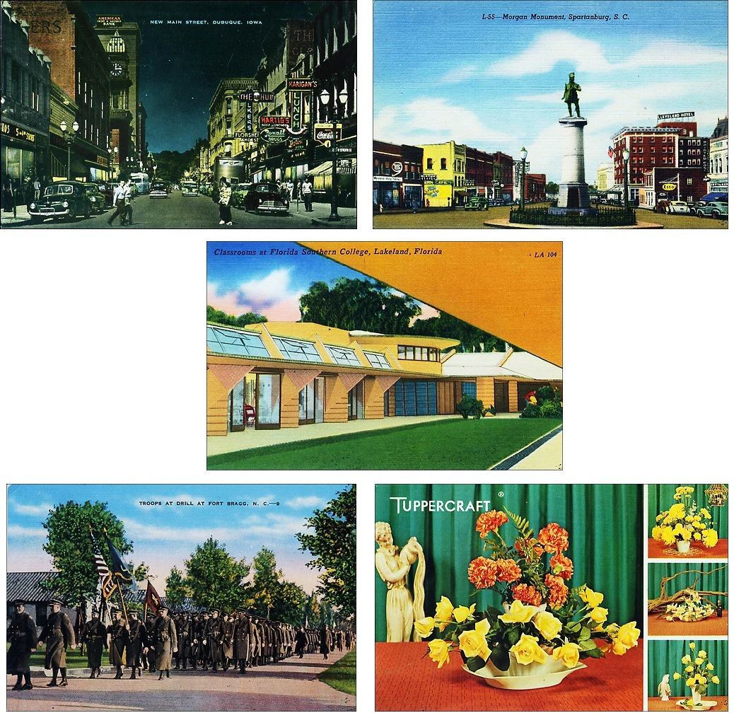 For a 50th wedding anniversary, postcards related to different parts of the couple's history was combined for a trip down memory lane: DuBuque, Iowa, Spartanburg, S.C., Florida Southern College in Lakeland, a parade at Fort Bragg, N.C., and a Tuppercraft advertisement postcard are all part of the couple's history.