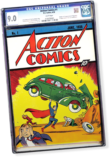 This copy of Action Comics #1 in 9.0 condition is about to go up for sale on eBay as part of a 10-day auction beginning Aug. 14. It is owned by collectibles dealer Darren Adams, who will be donating a portion of the expected $2-million-plus  proceeds to the Christopher and Dana Reeves Foundation.