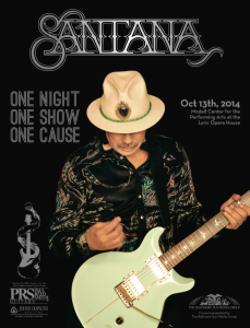 Carlos Santana, one of the first artists to endorse PRS guitars, and has been a supporter of the brand for decades and will headline the One Night, One Show, One Cause concert Oct. 13.