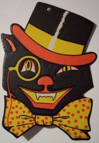 Most Halloween items were disposable, as they were intended for one-time use and this was back in the day when not everything in our lives was disposable—unless your mom was like my mom, who packed everything away for use the next year. So, a die-cut black cat decoration like this could set you back a couple hundred bucks or more.