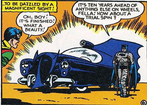 The Batmobile of 1950s comics had a Bat-Mask on the front and a large single fin in the back.