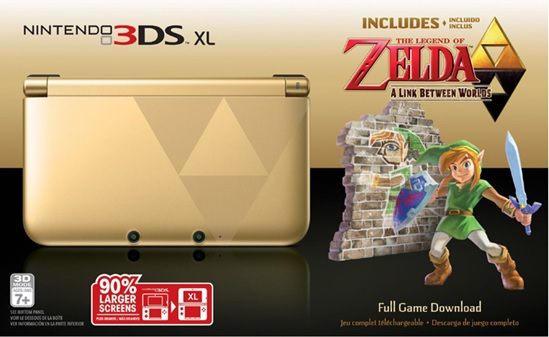 2013's Link Between Worlds model, which also had a huge value spike as preorders disappeared. But supply eventually outstripped demand, and it can be had now for less than the price a new 3DS. Interestingly, the Majora's Mask edition does not include the actual game whereas this version—and the Monster Hunter one above—do.