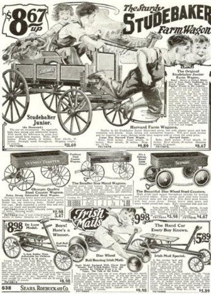 "A 1924 Sear Roebucks ad featuring the ""Sturdy Studebaker Wagon."""