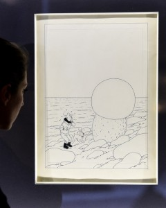 """The black-and-white original cover design for Herge's 1942 Tintin adventure, """"The Shooting Star"""" sold for €2.5 million ($2.8 million U.S.)."""