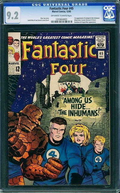 If Marvel can take a group of Z-list comics heroes—like the Guardians of the Galaxy—and rule the summer box office, watch for the Inhumans in the summer of 2019. Right now, a 9.2-graded copy of Fantastic Four #45, which introduces the Inhumans, is up for auction.