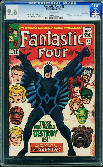 Fantastic Four #46 is the first full appearance of Black Bolt, king of the Inhumans, and no doubt the star of the upcoming film. A copy of FF #46 in 9.6 condition currently holds a bid of 2,800 and is sure to rise as the auction at comiclink.com begins to heat up.