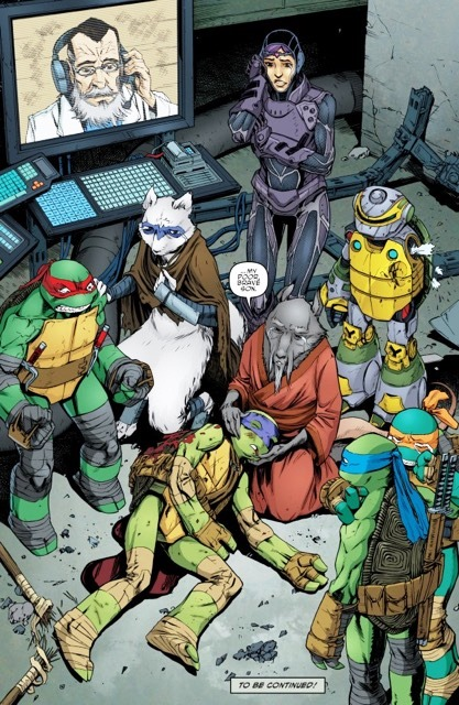 The pivotal scene, on page 24 of Teenage Mutant Ninja Turtles #44… is Donatello really dead?