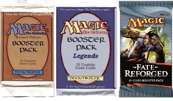 On the left is one of the Revised (4th) Edition Booster Packs—a genius stroke of marketing. Part of the thrill of the game was opening one of these to see which rare was in there. The earliest packs, quite comically, were semi-translucent so you could sometimes actually see what rare was in there. Foil packs put a stop to that in later editions. I genuinely thought the Legends set was going to be where the bubble was going to burst 20 years ago. But here we are in 2014, with an all new set just released.