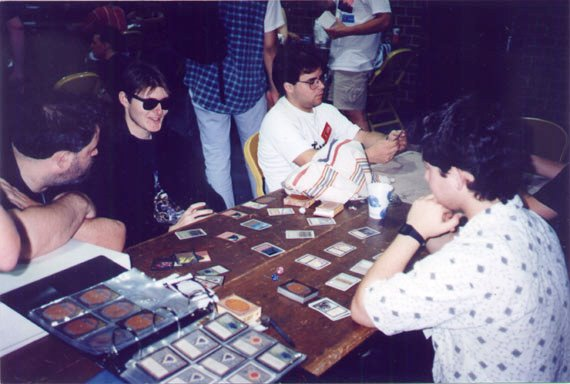 A scene from the very first Magic World Championships in 1994. Organized play helped foster demand for specific cards and word-of-mouth praise of the gameplay—and its aftermarket value- led to quickly sold-out print runs.