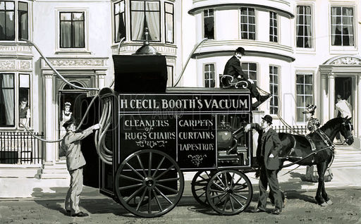 An old horse-drawn vacuum cleaner wagon, with its hoses being fed through the windows of a home.