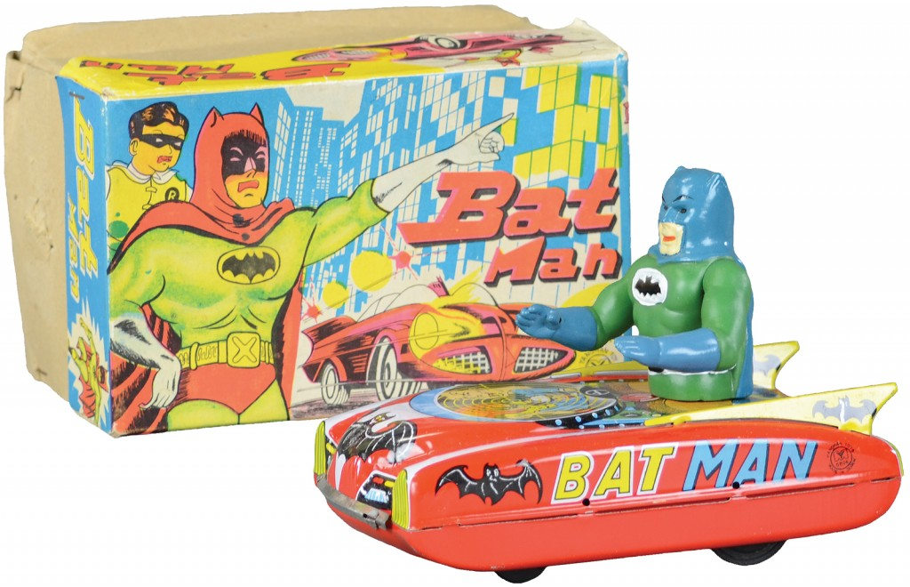This very rare boxed example of a 1960's lithographed tin friction Batman in the Batmobile, done in colorful body pattern, features a Batman at wheel with movable arms is one of the items up for sale at Bertoia Auctions' toy sale on May 8-9 in Vineland, N.J. The six-inch toy with the original box carries a pre-sale estimate of $4,000 to $5,000.