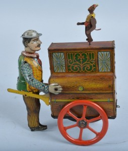 Another German-made toy, this very rare Distler Organ Grinder is all original, including the original Monkey! The colors are beautiful on this great toy and it works perfectly, still making a plunk noise. It also carries a 1000 to $1,500 presale estimate.