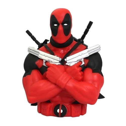 Comic Hero Banks: think piggy bank but made of PVC plastic and shaped like Wolverine, Superman, Spidey or just about any other comic character you can think of. This one of Deadpool is fun, but they're produced by the millions and sold everywhere from comic shops to Wal-Mart.