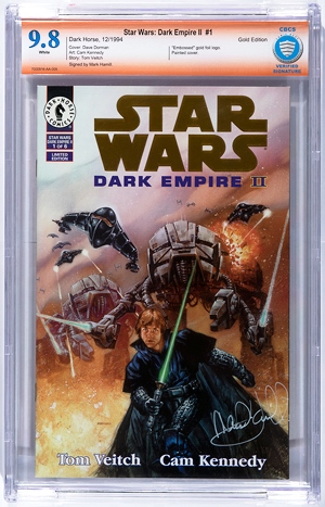 Comic Book Certification Service is the newest service, having been in business for a little more than a year. CBCS also authenticates unwitnessed signatures as part of its Verified Signature Program, such as this Mark Hamill-signed edition of Star Wars: Dark Empire II #1.