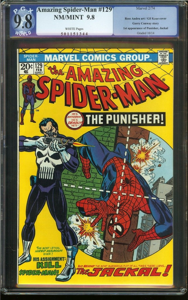 Professional Grading eXperts (PGX) came on the scene in 2003. It has more affordable price points, starting at $13. This Amazing Spider-Man #129—feating the first appearances of Punisher and Jackal—graded at Near Mint/Mint 9.8.