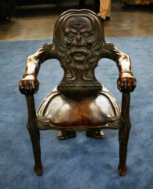 A Green Man chair made of mahogany, circa. 1890. It carries an appraised value of $3,000.
