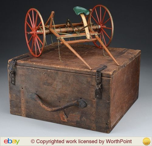 In the late 19th and early 20th centuries, functional salesman's samples were expensive to make but easy to transport and demonstrate their products features and benefits using the scaled-down functional product sample to potential customers. What do you think a farmer would think when shown this sample hay rake? With its original case, it sold at a James D. Julia auction in November of 2014 for $17,000.