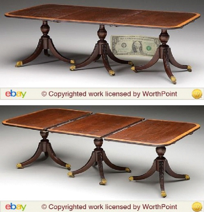 This fully functioning scale sample triple-pedestal dining table—notice the dollar bill included in the photo to show its actual size—was expected to bring between $2,000 to $3,000; it sold for $5,000.
