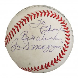 This Joe DiMaggio autograph, inscribed on the side panel in lesser condition, is worth $150. Without the inscription, it would be worth $450.