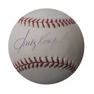 This Sandy Koufax autograph badly fading and worth only $85.