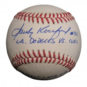 This Sandy Koufax autograph inscribed on the Sweet Spot in excellent condition and is worth $750, compared to a Koufax ball without the inscription, which would be worth $450.