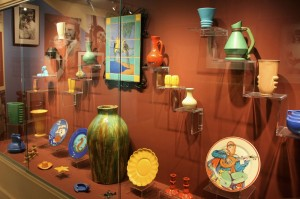 The display case in the Catalina Island Museum in Avalon shows a variety of ware produced by the Catalina Clay Products Co.