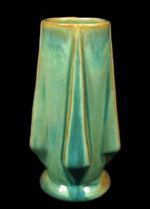 A Catalina Art Deco-design vase in sea foam glaze over island clay.