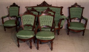 Here is a full seven-piece parlor set in the Renaissance Revival style, circa 1875, made by John Jelliff &Co. Jelliff himself retired in 1860 but his company continued under his name until 1890. (LiveAuctioneers.com/Langston Auction Gallery photo)