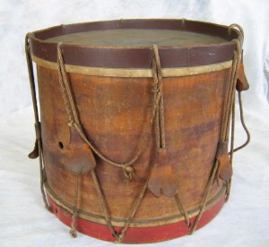 11.An unrestored field drum made by Noble & Cooley. The tension ropes and ears have lost their elasticity over the years.
