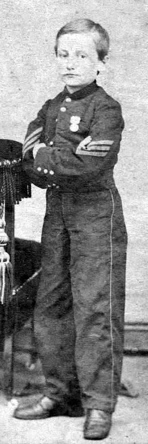 6.Sgt. John Clem, sporting the sergeant stripes he earned after shooting a Confederate major when told to surrender. Clem went on to retire from the U.S. Army as a general.