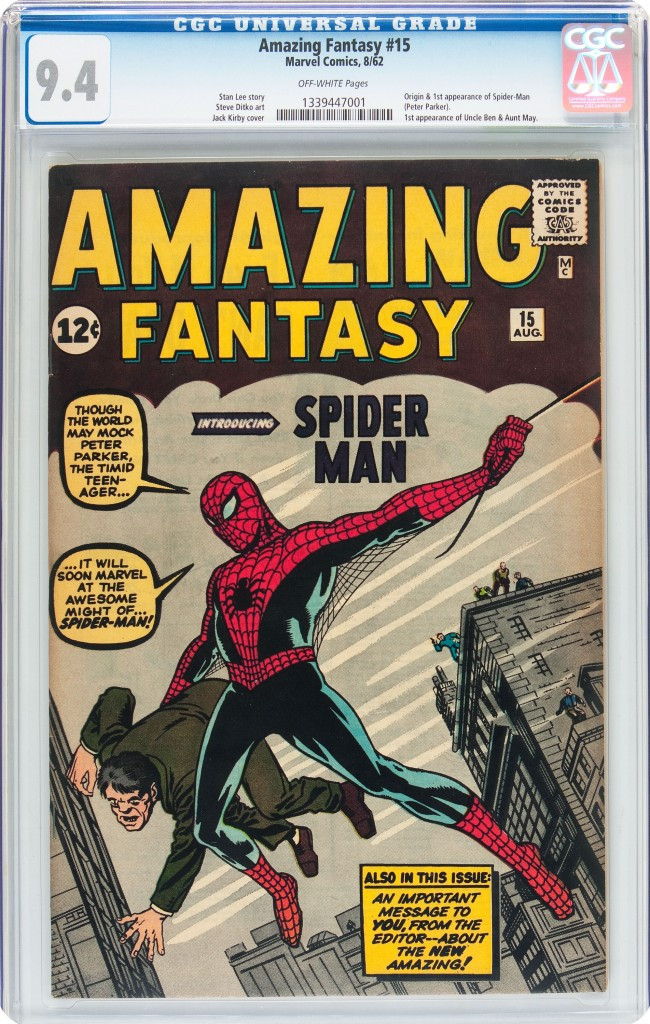 This copy of Amazing Fantasy #15 was purchased in 1980 by New York area collector Walter Yakaboski, a comic book collector, who had the opportunity to buy a handful of key early Marvel comic books for the very tidy sum of $10,000. It sold last week for $454,100.