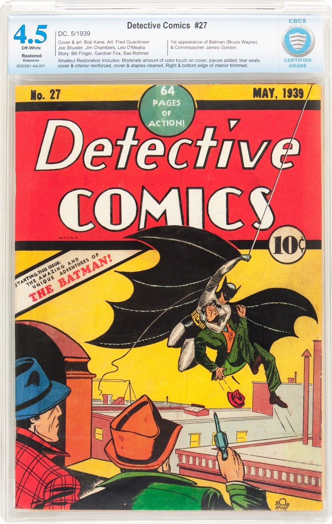 This copy of Detective Comics #27 hammered for $167,300, despite its 4.5 CBCS grade and extensive restoration.