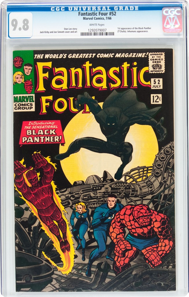 A Near-Mint 9.8 CGC copy of Fantastic Four #52, the first appearance of the Black Panther, sold for $83,650.