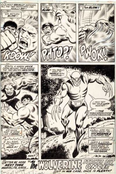 The X-Men's Wolverine's made his debut on the final page of The Incredible Hulk #180 from Marvel comics, 1974. The page, drawn by the amazing Herb Trimpe sold for a record $657,250 at Heritage Auctions after a buyer's premium.
