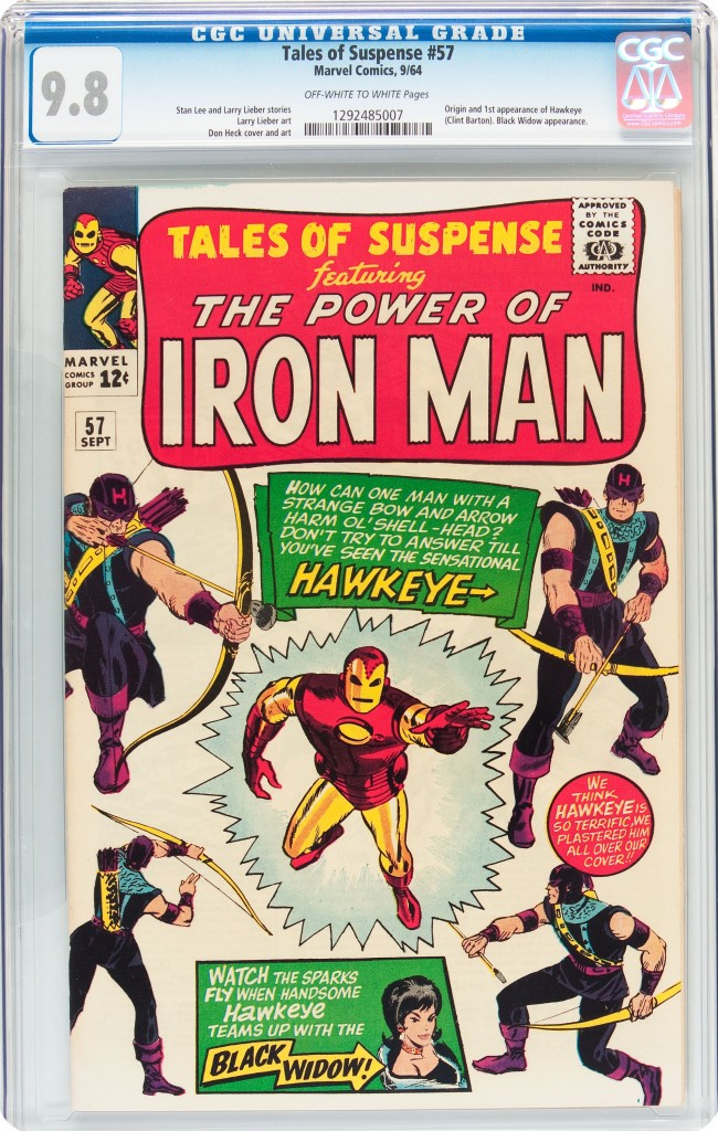 Tales of Suspense #57, introducing fellow Avenger Hawkeye, sold for $47,800.
