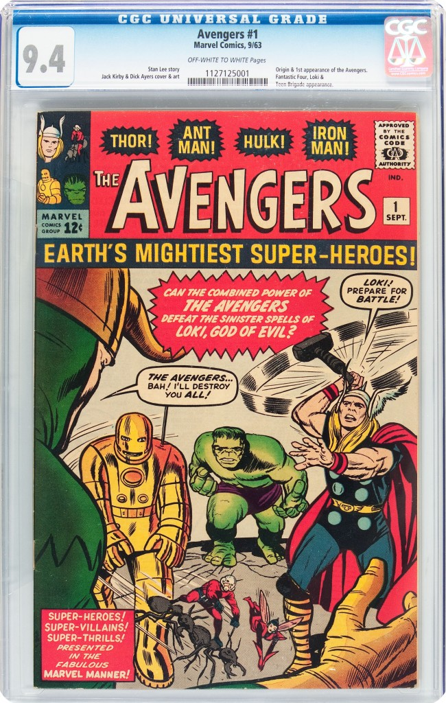 A high-grade, Near-Mint 9.4 CGC copy of The Avengers #1 sold for $98,587.