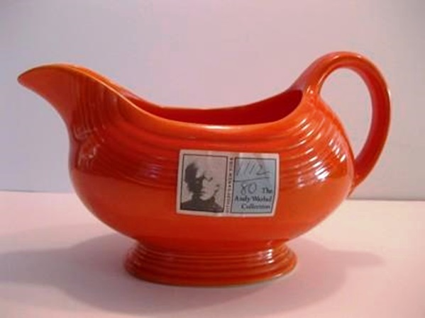 This Warhol red Fiesta sauce boat, purchased originally at Sotheby's (as it still has its Warhol auction sticker) was resold on eBay for $199.