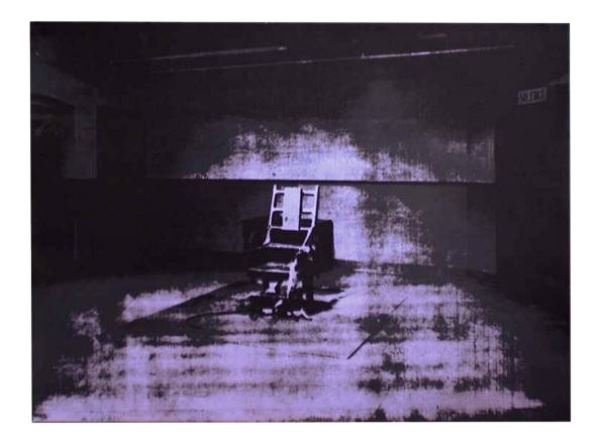 This Andy Warhol screen print-on-cardboard image of an electric chair, which measures three feet tall and four feet across, can be had for $2,900 on 1stdibs.com.