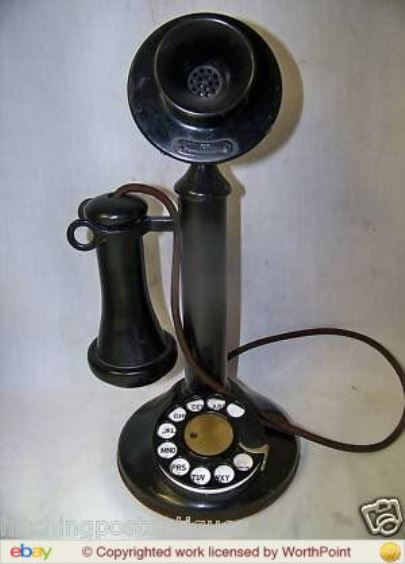 This antique Western Electric dial candlestick telephone sold for $202.50 in 2010.