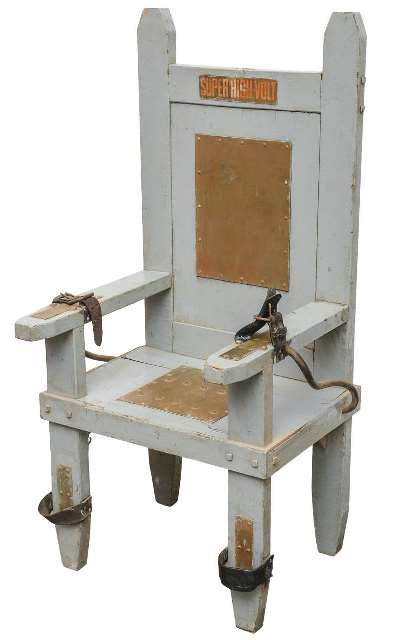 An electric chair dating from the 1930s was up for sale on the 1stdibs.com website with a price tag of $5,200. The listing is no longer active.