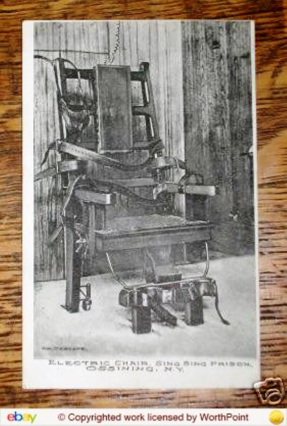 "A postcard from Sing-Sing prison's death chair, known as ""Old Sparky."" It brought $10.50 on eBay."