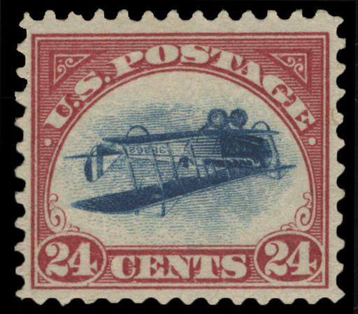 "An example of a 1918 ""inverted Jenny"" stamp. Four of these collector's Holy Grails were stolen in 1955. One showed up last week at Spink USA, a New York auction house. Selling for 24 cents in 1918, they are now worth hundreds of thousands of dollars today."