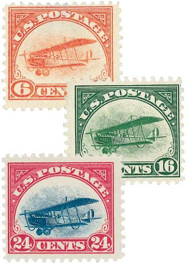 The set of three Jenny stamps can be purchased for between 125 to $260, depending on condition.