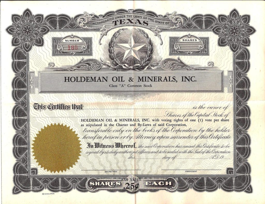 One of the stock certificates for Holdeman Oil and Minerals, Inc.