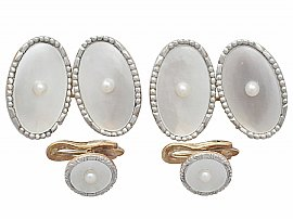 mother of pearl gold cufflinks