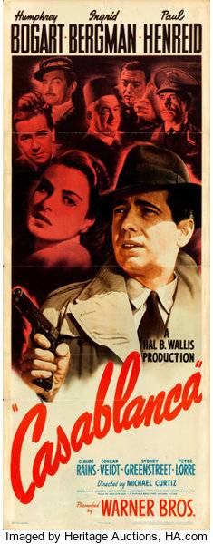 Casablanca Insert Boosts Heritage Auctions' Movie Posters Auction Beyond $1.6 Million
