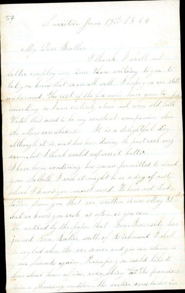 The Letters of John M. Jackson--June 19, 1864